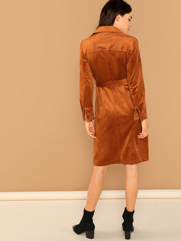 Shirts - Women's Trendy Rust Button Front Waist Tie Long Sleeve Shirt Dress