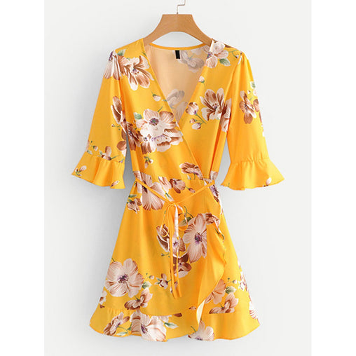 Yellow V-Neck Half Sleeve Floral Print Shift Dress