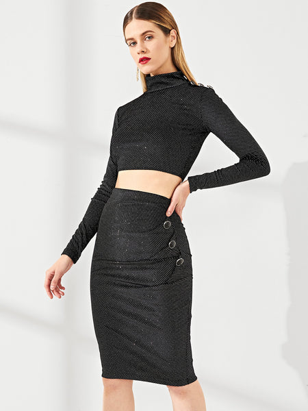 Black Button Shoulder Glitter Top And Skirt Set