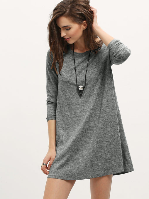Grey Long Sleeve Casual Short Dress