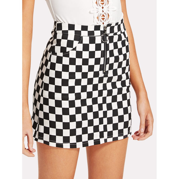 O-Ring Zipper Front Plaid Skirt - Fashiontage