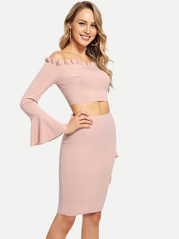Pink Off Shoulder Bell Sleeve Solid Top And Skirt Coord