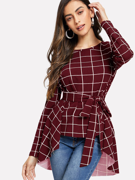 Burgundy Asymmetrical Hem Grid Top
