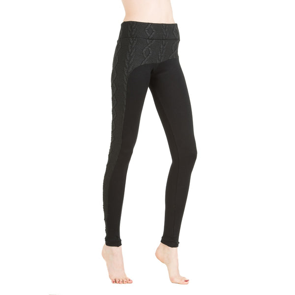 Leggings - Women's Trendy Black Knit Legging