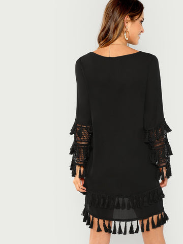 Day Dresses - Women's Trendy Black Tassel Detail Solid Dress