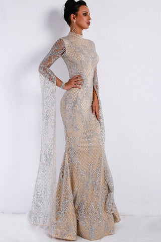 Lattice Formal High Neck Evening Gown
