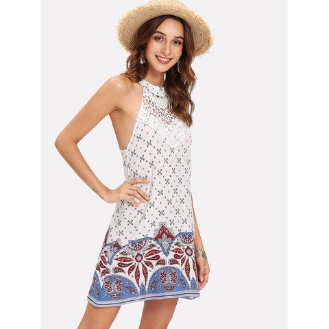 Multicolor Lace Panel Geo Print Hater Dress