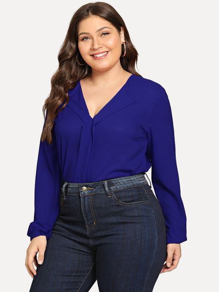 Plus Size Blue V-Neck Solid Chiffon Top