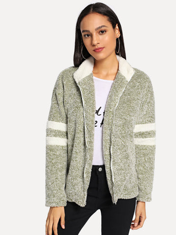 Ups - Women's Trendy Green Zip Up Striped Teddy Jacket