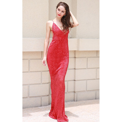 Day Dresses - Women's Trendy Red Sequin Cocktail Dress