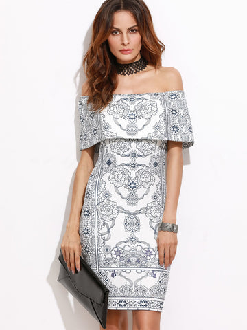 Cocktail & Party Dresses - Women's Trendy Multicolor Flounce Layered Neckline Vintage Print Dress