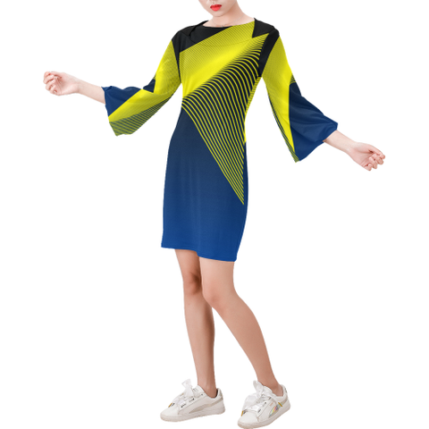 Beachwear - Women's Trendy Blue Round Neck Bell Sleeve Shift Dress