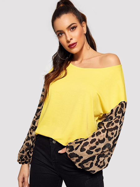 Yellow Leopard Lantern Sleeve Top
