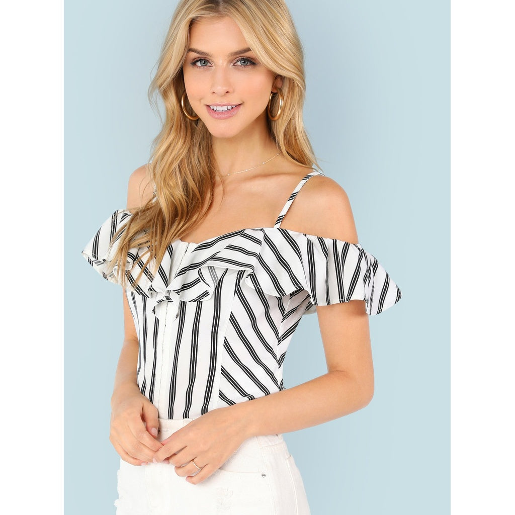 13132235eae2f Fashiontage - Black and White Striped Cold Shoulder Blouse ...