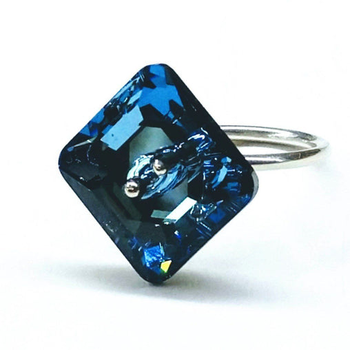 Sterling Silver Aqua Swarovski Crystal Shank Button Ring
