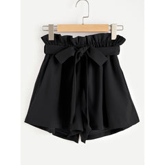 Frill Waist Self Tie Shorts - Fashiontage