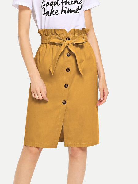 Yellow Waist Belted Button Ruffle Split Skirt