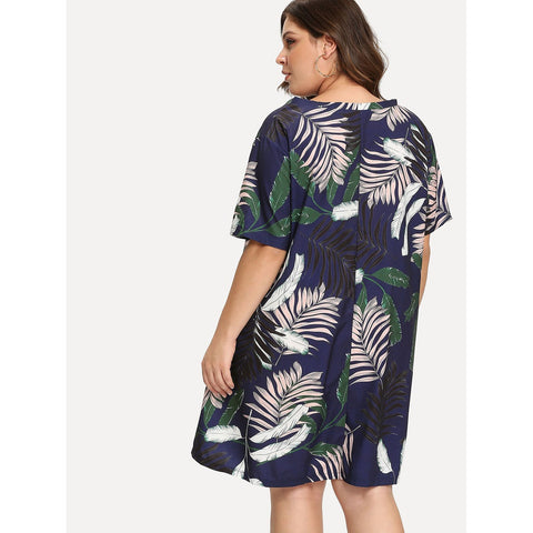 Plus Size Tops - Women's Trendy Plus Size Multicolor V-Neck Palm Print Top