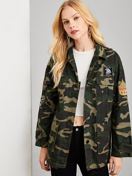 Multicolor Patched Camouflage Denim Jacket