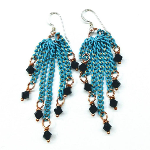 Turquoise Tassel Crystal Earrings