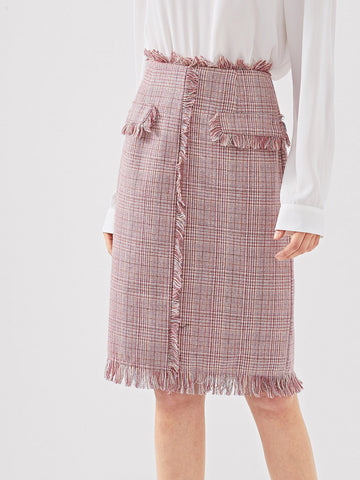 Skirts - Women's Trendy Pink Frayed Edge Tweed Skirt