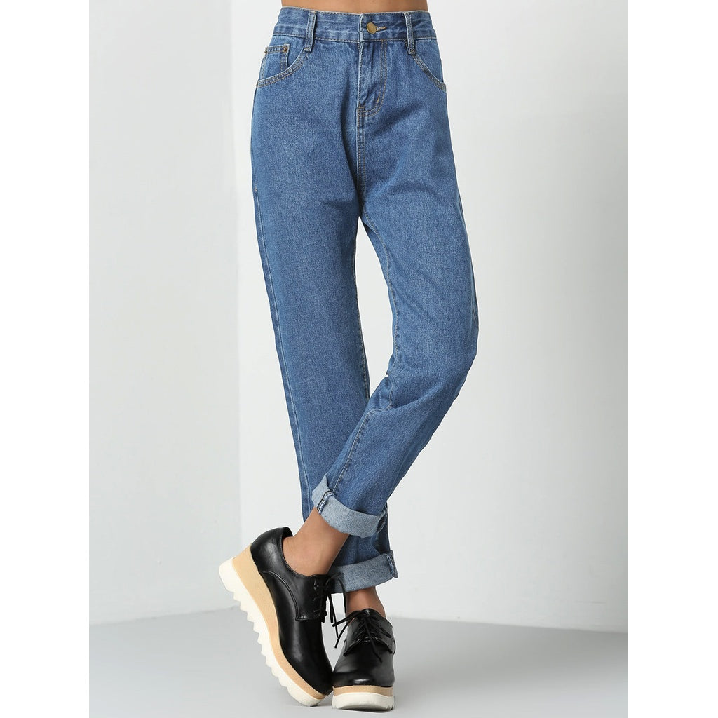 ccc2d9056a343 Fashiontage - Blue Regular Mid Waist Straight Leg Jeans - 575342444605