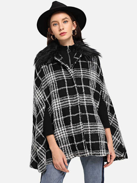 Black And White Faux Fur Embellished Plaid Cape