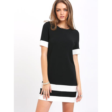 Color Block Stripe Short Sleeve Shift Dress - Fashiontage