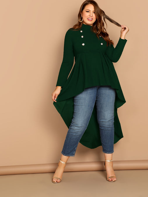 Plus Size Green Double Button High Low Hem Top