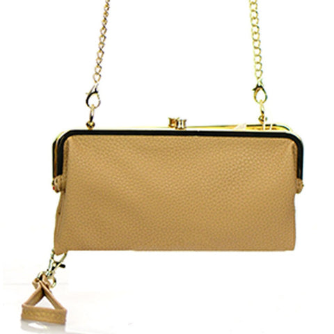 Flap Beige Leather Clutch Bag