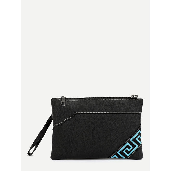 Black Greek Key Pattern Clutch Bag