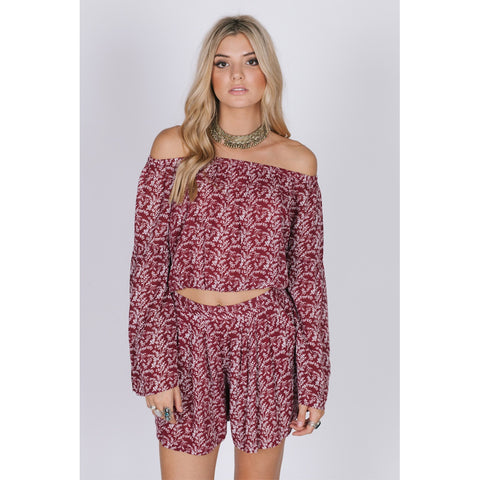 Hoodies - Women's Trendy Off The Shoulder Short Viscose Blouse