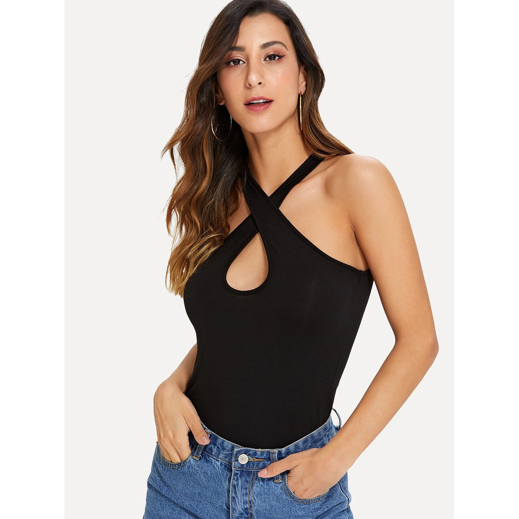 Black Halter Criss Cross Top