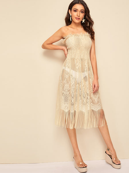 Apricot Fringe Trim Lace Sleeveless Midi Dress