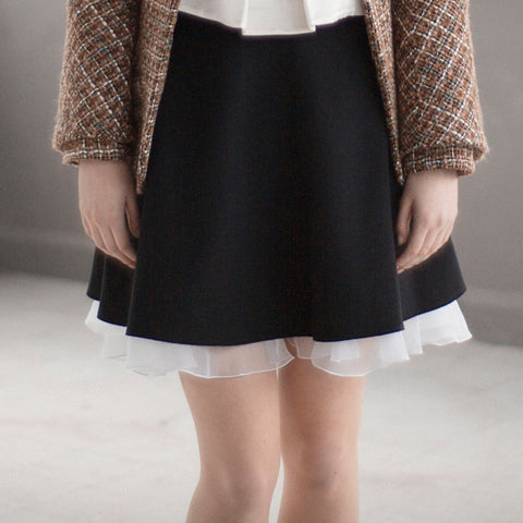 Skirts - Women's Trendy Black Plain Knee Length Skirt