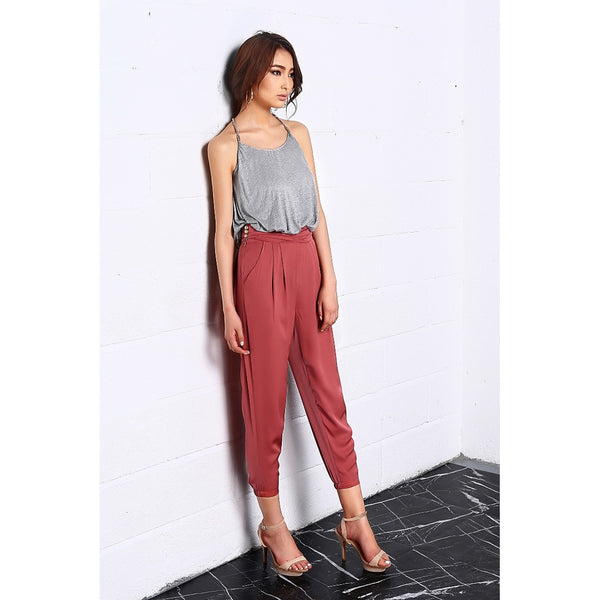 High Waisted Pants - Women's Trendy Gold High Waist Polyester Pant