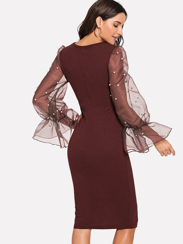 Formal Dresses - Women's Trendy Burgundy Pearl Beaded Mesh Sleeve Form Fitting Dress
