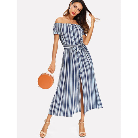 Sweatshirts - Women's Trendy Multicolor Barcode Striped Off Shoulder Tie Neck Shirt Dress