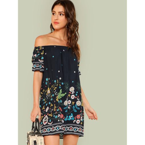 Navy Tribal Print Bardot Dress