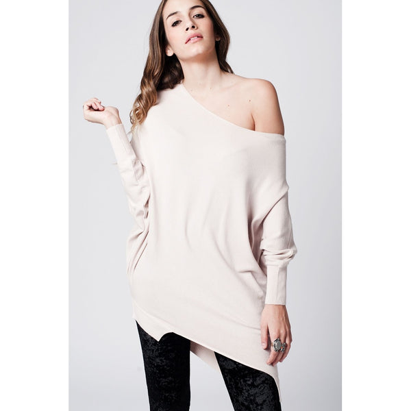 - Women's Trendy Beige Sleeves Asymmetric