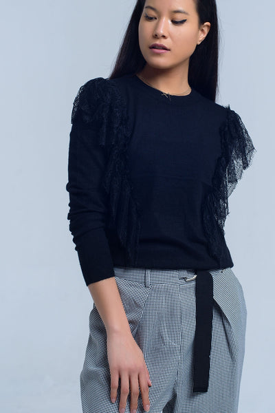 Black Crew Neck Long Sleeve Sweater