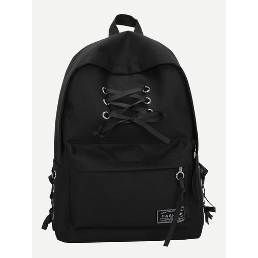 Black Lace Up Pocket Front Backpack