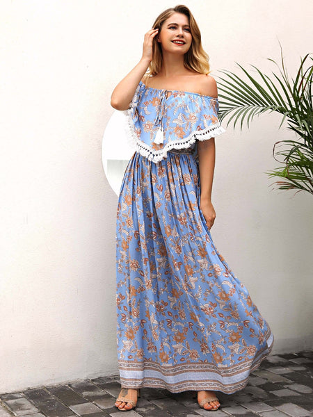 Off the Shoulder Shift Maxi Dress