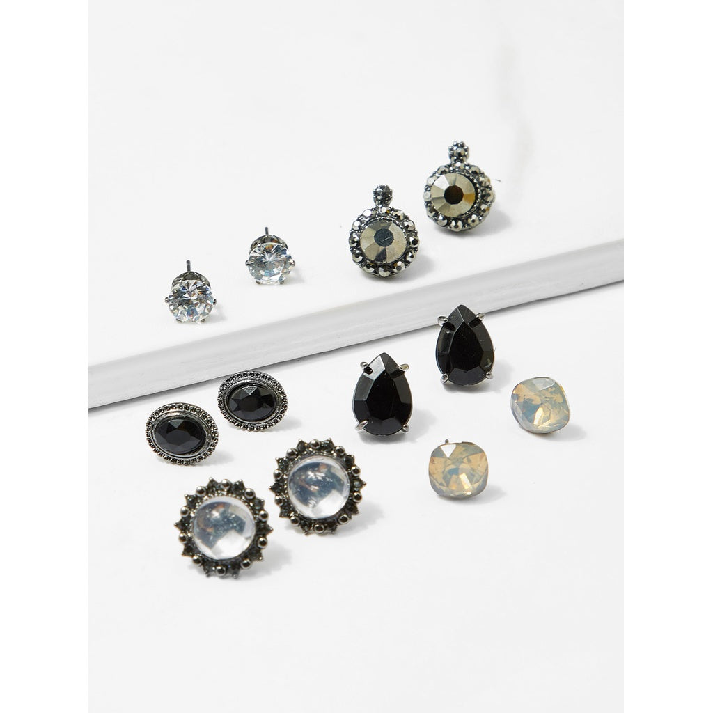 Black Gemstone Stud Earrings 6pairs