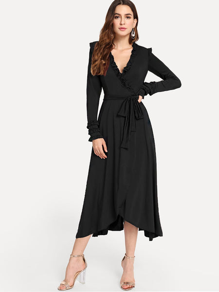 Black Surplice Front Frill Long Dress