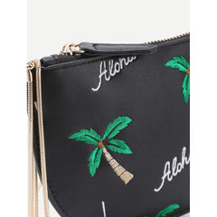 Black Coconut Tree Embroidered Saddle Bag