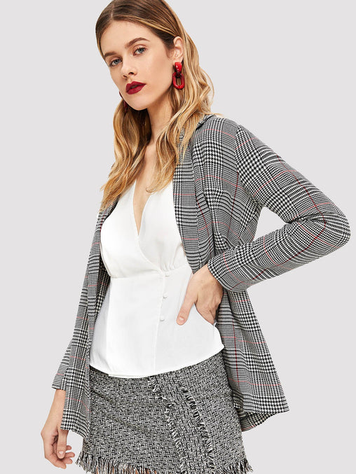 Grey Notched Collar Plaid Blazer