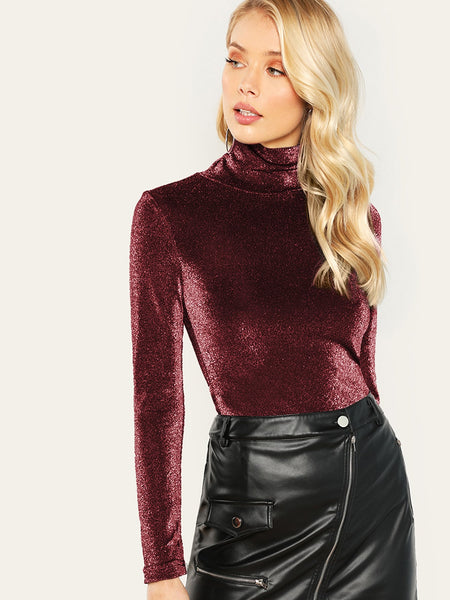 Burgundy High Neck Form Fitting Glitter T-Shirt