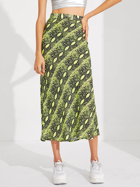 Neon Lime Snakeskin Long Skirt