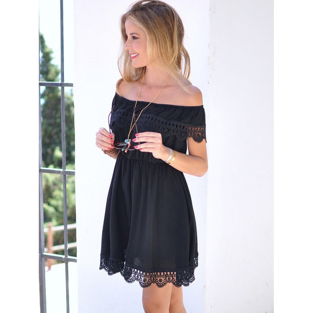 Black Off The Shoulder Short Sleeve Mini Dress